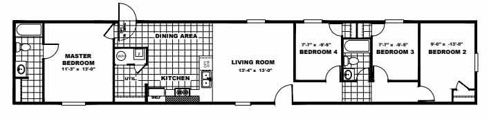 4 bed Single Wide Floor Plan NC