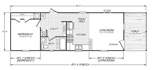 I bedroom Single Wide with Porch