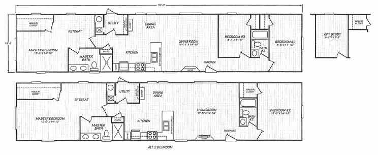 Economy Single Wide - Fleetwood Homes floor plan NC